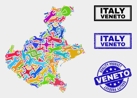 Vector collage of tools Veneto region map and blue seal stamp for quality product. Veneto region map collage made with tools, spanners, science symbols. Banque d'images - 128735812