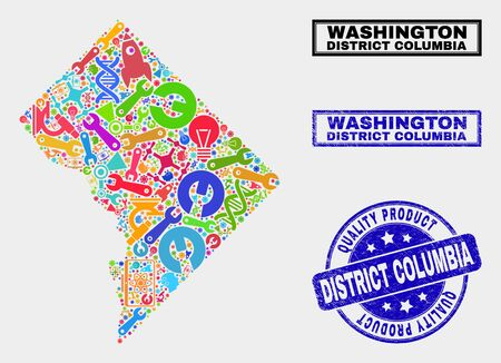 Vector collage of service Washington District Columbia map and blue watermark for quality product. Washington District Columbia map collage designed with equipment, wrenches, science icons. 일러스트