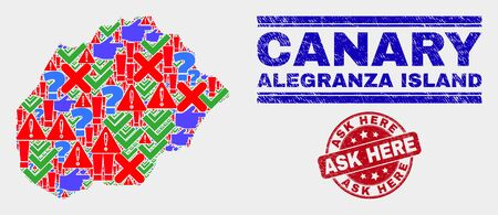 Symbolic Mosaic Alegranza Island map and seal stamps. Red round Ask Here grunge seal. Colorful Alegranza Island map mosaic of different randomized items. Vector abstract combination.