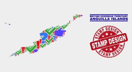 Symbolic Mosaic Anguilla Islands map and seal stamps. Red rounded Stamp Design textured seal stamp. Colored Anguilla Islands map mosaic of different randomized symbols. Vector abstract collage. Illustration
