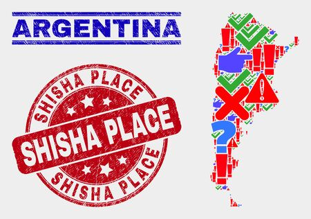 Symbolic Mosaic Argentina map and seal stamps. Red rounded Shisha Place grunge seal stamp. Colored Argentina map mosaic of different scattered items. Vector abstract combination.