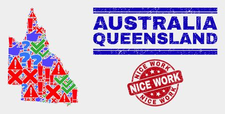 Symbolic Mosaic Australian Queensland map and seal stamps. Red round Nice Work textured seal stamp. Bright Australian Queensland map mosaic of different randomized icons. Vector abstract collage. Çizim