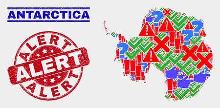 Sign Mosaic Antarctica continent map and seal stamps. Red round Alert scratched seal stamp. Colorful Antarctica continent map mosaic of different randomized symbols. Vector abstract collage.