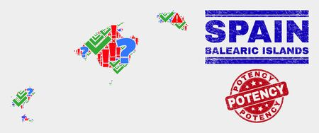 Sign Mosaic Balearic Islands map and seal stamps. Red round Potency scratched seal. Bright Balearic Islands map mosaic of different randomized icons. Vector abstract collage.