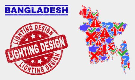 Symbolic Mosaic Bangladesh map and seal stamps. Red rounded Lighting Design scratched seal stamp. Colored Bangladesh map mosaic of different scattered elements. Vector abstract combination.