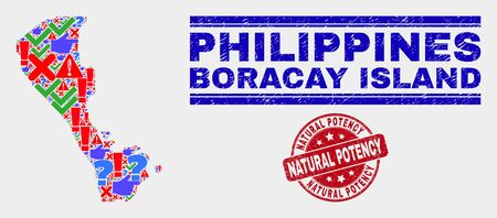 Sign Mosaic Boracay Island map and seal stamps. Red round Natural Potency distress seal stamp. Bright Boracay Island map mosaic of different random icons. Vector abstract composition.