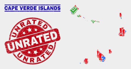 Symbol Mosaic Cape Verde Islands map and seal stamps. Red round Unrated distress seal stamp. Bright Cape Verde Islands map mosaic of different random items. Vector abstract combination.