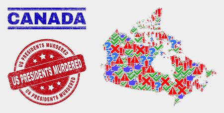 Symbolic Mosaic Canada map and seal stamps. Red rounded Us Presidents Murdered distress seal. Colored Canada map mosaic of different randomized icons. Vector abstract composition. Stock Illustratie