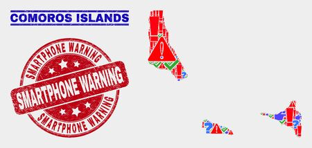 Symbol Mosaic Comoros Islands map and seal stamps. Red round Smartphone Warning textured seal. Bright Comoros Islands map mosaic of different random icons. Vector abstract collage. Illustration