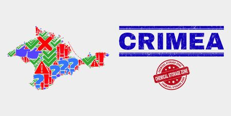 Symbol Mosaic Crimea map and seal stamps. Red round Chemical Storage Zone distress seal stamp. Colored Crimea map mosaic of different scattered elements. Vector abstract combination.