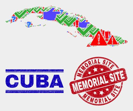 Sign Mosaic Cuba map and seals. Red rounded Memorial Site grunge stamp. Colored Cuba map mosaic of different random icons. Vector abstract composition.