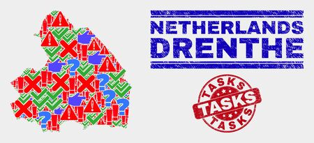 Sign Mosaic Drenthe Province map and seal stamps. Red round Tasks textured seal stamp. Colorful Drenthe Province map mosaic of different random icons. Vector abstract composition. Standard-Bild - 128769332