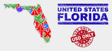 Symbolic Mosaic Florida State map and seal stamps. Red round USD Only scratched seal stamp. Colorful Florida State map mosaic of different randomized elements. Vector abstract collage. Иллюстрация