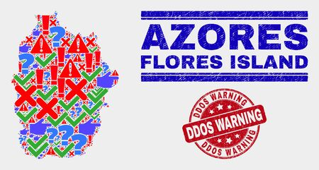 Symbolic Mosaic Flores Island of Azores map and seal stamps. Red round Ddos Warning textured seal. Colored Flores Island of Azores map mosaic of different scattered symbols. Vector abstract collage. Standard-Bild - 128769338