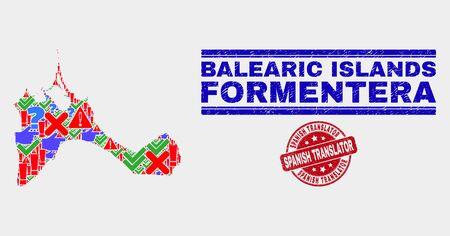 Symbolic Mosaic Formentera Island map and seal stamps. Red round Spanish Translator textured seal stamp. Colorful Formentera Island map mosaic of different randomized elements. Standard-Bild - 128769334