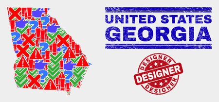 Symbolic Mosaic Georgia State map and seal stamps. Red rounded Designer grunge stamp. Colored Georgia State map mosaic of different scattered symbols. Vector abstract combination. Standard-Bild - 128769335
