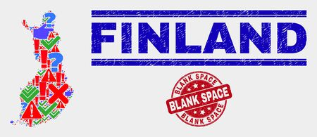 Symbolic Mosaic Finland map and seal stamps. Red round Blank Space grunge seal. Colored Finland map mosaic of different scattered elements. Vector abstract composition. Standard-Bild - 128769342