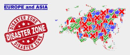 Symbolic Mosaic Europe and Asia map and stamps. Red round Disaster Zone grunge watermark. Colorful Europe and Asia map mosaic of different randomized symbols. Vector abstract combination. Standard-Bild - 128769343
