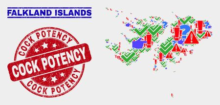Symbolic Mosaic Falkland Islands map and seal stamps. Red round Cock Potency distress seal. Colorful Falkland Islands map mosaic of different scattered items. Vector abstract combination.