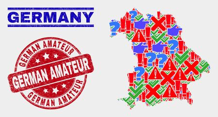 Sign Mosaic Germany map and seal stamps. Red round German Amateur distress seal. Colored Germany map mosaic of different random items. Vector abstract combination. Standard-Bild - 128769365
