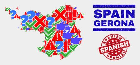 Sign Mosaic Gerona Province map and seal stamps. Red rounded Spanish distress seal stamp. Bright Gerona Province map mosaic of different random items. Vector abstract composition. Standard-Bild - 128769378