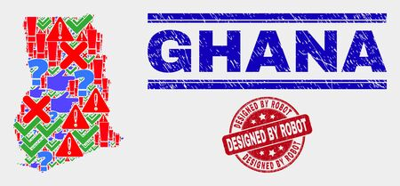 Symbolic Mosaic Ghana map and seal stamps. Red round Designed by Robot grunge seal. Colored Ghana map mosaic of different random elements. Vector abstract composition. Standard-Bild - 128769376