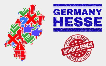 Symbolic Mosaic Hesse Land map and seal stamps. Red rounded Authentic German textured seal stamp. Colored Hesse Land map mosaic of different randomized symbols. Vector abstract composition. Standard-Bild - 128769385