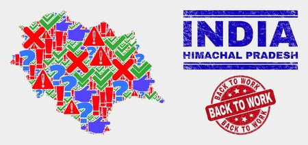 Sign Mosaic Himachal Pradesh State map and seal stamps. Red rounded Back to Work grunge seal. Bright Himachal Pradesh State map mosaic of different randomized icons. Vector abstract combination. Imagens - 128769390