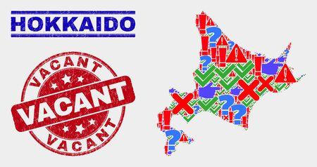 Carte symbolique de Hokkaido en mosaïque et timbres de sceau. Sceau texturé Vacant arrondi rouge. Mosaïque colorée de carte de Hokkaido de différents symboles dispersés. Combinaison abstraite de vecteur.