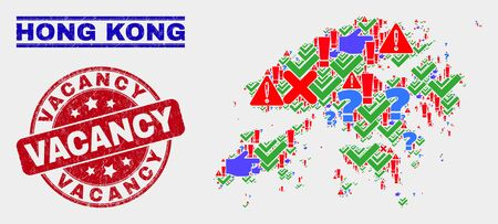 Symbolic Mosaic Hong Kong map and seal stamps. Red rounded Vacancy distress seal. Bright Hong Kong map mosaic of different randomized elements. Vector abstract composition. Ilustracja