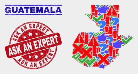 Sign Mosaic Guatemala map and seal stamps. Red rounded Ask an Expert grunge seal. Colorful Guatemala map mosaic of different randomized icons. Vector abstract collage. Standard-Bild - 128769396