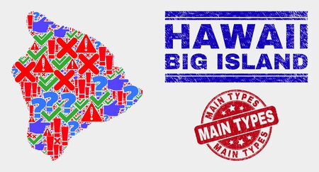 Sign Mosaic Hawaii Big Island map and seal stamps. Red rounded Main Types grunge seal stamp. Colored Hawaii Big Island map mosaic of different randomized icons. Vector abstract composition. Standard-Bild - 128769392