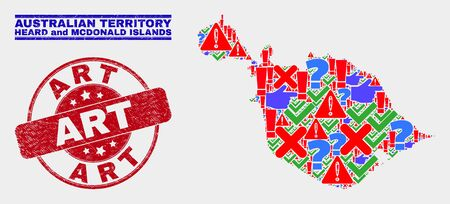 Symbolic Mosaic Heard and McDonald Islands map and seal stamps. Red rounded Art textured seal. Colored Heard and McDonald Islands map mosaic of different scattered icons. Vector abstract composition.