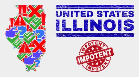 Symbolic Mosaic Illinois State map and seal stamps. Red round Impotent textured seal. Colored Illinois State map mosaic of different scattered items. Vector abstract combination. Ilustração