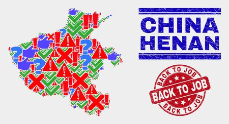Symbol Mosaic Henan Province map and seal stamps. Red rounded Back to Job distress seal stamp. Bright Henan Province map mosaic of different scattered items. Vector abstract collage.