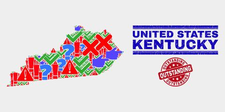 Symbol Mosaic Kentucky State map and seal stamps. Red round Outstanding textured seal stamp. Colorful Kentucky State map mosaic of different random symbols. Vector abstract collage.