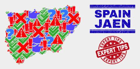 Symbolic Mosaic Jaen Spanish Province map and seal stamps. Red rounded Expert Tips distress seal stamp. Colorful Jaen Spanish Province map mosaic of different random elements. 일러스트