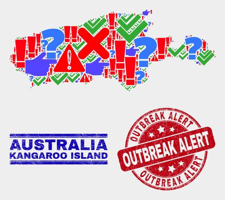 Symbolic Mosaic Kangaroo Island map and seal stamps. Red rounded Outbreak Alert textured seal. Colored Kangaroo Island map mosaic of different scattered elements. Vector abstract collage.