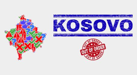 Sign Mosaic Kosovo map and stamps. Red rounded Out of Order textured watermark. Bright Kosovo map mosaic of different scattered items. Vector abstract collage. Stock Illustratie
