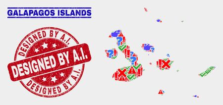 Symbolic Mosaic Galapagos Islands map and stamps. Red rounded Designed by A.I. distress seal. Bright Galapagos Islands map mosaic of different random icons. Vector abstract composition.