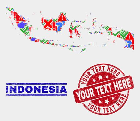 Sign Mosaic Indonesia map and seal stamps. Red round Your Text Here scratched seal. Bright Indonesia map mosaic of different randomized icons. Vector abstract combination.
