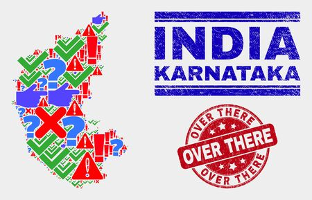 Sign Mosaic Karnataka State map and seal stamps. Red round Over There distress seal. Bright Karnataka State map mosaic of different random elements. Vector abstract composition.