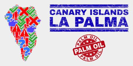 Sign Mosaic La Palma Island map and seal stamps. Red rounded Palm Oil distress seal stamp. Colored La Palma Island map mosaic of different randomized icons. Vector abstract combination.