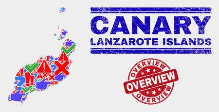 Sign Mosaic Lanzarote Islands map and seal stamps. Red round Overview distress seal. Bright Lanzarote Islands map mosaic of different random symbols. Vector abstract combination.
