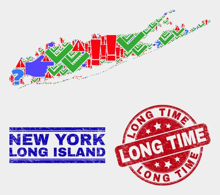 Sign Mosaic Long Island map and seal stamps. Red round Long Time scratched seal stamp. Colorful Long Island map mosaic of different random symbols. Vector abstract composition.