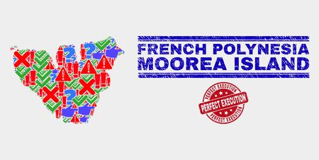 Symbol Mosaic Moorea Island map and seal stamps. Red rounded Perfect Execution distress seal. Bright Moorea Island map mosaic of different random items. Vector abstract collage.