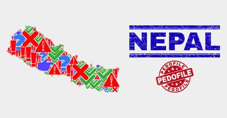 Sign Mosaic Nepal map and seals. Red round Pedofile scratched seal stamp. Colored Nepal map mosaic of different randomized items. Vector abstract composition.