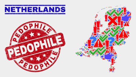 Sign Mosaic Netherlands map and seal stamps. Red round Pedophile scratched seal. Colored Netherlands map mosaic of different randomized items. Vector abstract composition.
