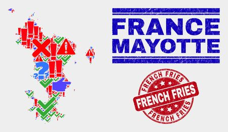 Sign Mosaic Mayotte Islands map and seal stamps. Red rounded French Fries scratched seal. Colored Mayotte Islands map mosaic of different randomized items. Vector abstract combination. Illustration