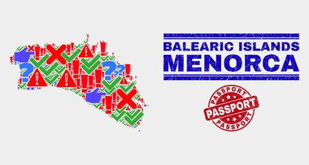Symbolic Mosaic Menorca Island map and seals. Red round Passport textured stamp. Bright Menorca Island map mosaic of different random elements. Vector abstract combination. Foto de archivo - 128791499
